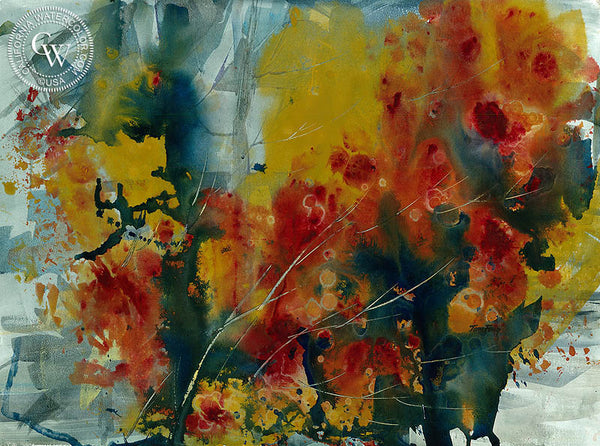 Floral Abstract, California watercolor art by Tom Fong. Original California watercolor painting for sale, fine art giclee print for sale, still life and floral art, flower painting, abstract floral art, CaliforniaWatercolor.com
