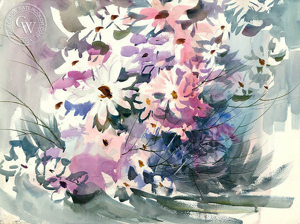 Flower Bouquet, California watercolor art by Tom Fong. Original California watercolor painting for sale, fine art giclee print for sale, floral art, botanical art, paintings of flowers, CaliforniaWatercolor.com