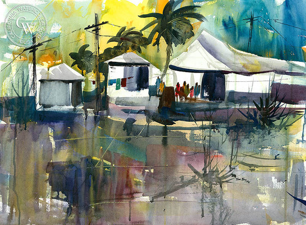 Laundry Day, California watercolor art by Tom Fong. Original California watercolor painting for sale, fine art giclee print for sale, coastal painting, beach and coastal watercolor painting, CaliforniaWatercolor.com