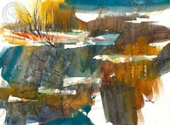 Snowy Creek, California watercolor art by Tom Fong. Original California watercolor painting for sale, fine art giclee print for sale, Yosemite painting, Yosemite art, California Pier art, CaliforniaWatercolor.com