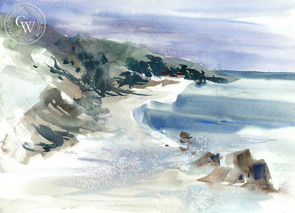 The California Coast, California watercolor art by Tom Fong. Original California watercolor painting for sale, fine art giclee print for sale, coastal artwork, CaliforniaWatercolor.com