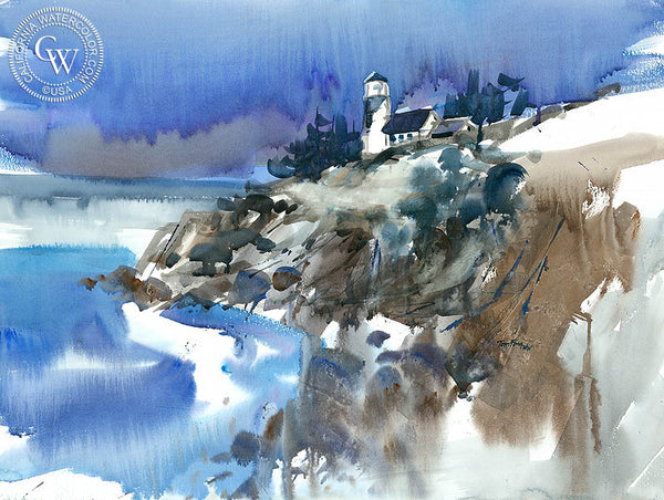 The Lighthouse, California watercolor art by Tom Fong. Original California watercolor painting for sale, fine art giclee print for sale, Lighthouse art, Lighthouse watercolor painting, CaliforniaWatercolor.com