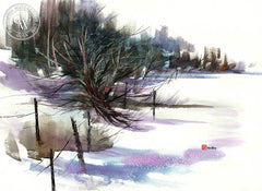 Winter Landscape, California watercolor art by Tom Fong. Original California watercolor painting for sale, fine art giclee print for sale, Yosemite painting, Yosemite watercolor landscape painting, CaliforniaWatercolor.com