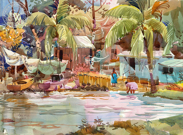 Tahiti Lagoon, watercolor art by Tom Hill. Original California watercolor painting for sale, Tahitian women, Tahiti landscape art, Tahiti Beach Scene, Tahiti painting for sale, CaliforniaWatercolor.com