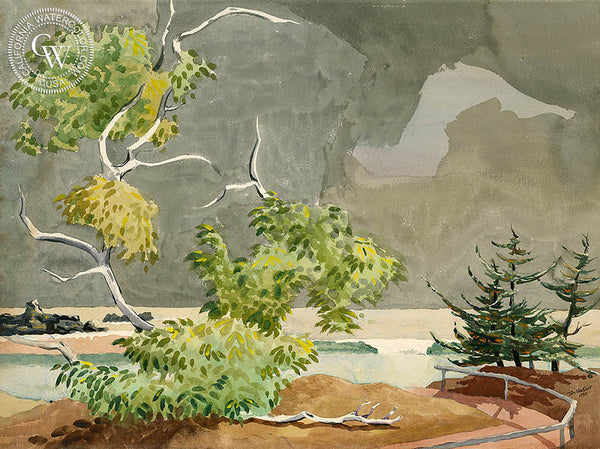 Brewing Storm, Mexico, 1955, California art by Tom Van Sant. HD giclee art prints for sale at CaliforniaWatercolor.com - original California paintings, & premium giclee prints for sale