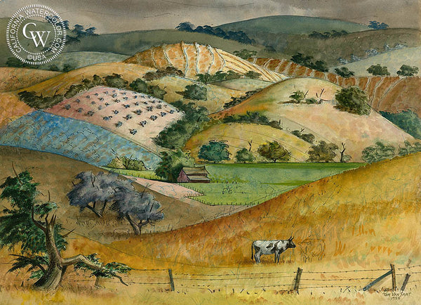 Coastal Mountain Vineyards, California, 1953, California art by Tom Van Sant. HD giclee art prints for sale at CaliforniaWatercolor.com - original California paintings, & premium giclee prints for sale