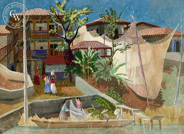 Drying Nets, Janitzio, California art by Tom Van Sant. HD giclee art prints for sale at CaliforniaWatercolor.com - original California paintings, & premium giclee prints for sale