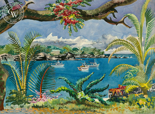 Keauhou Bay, Kona, Hawaii, 1952, California art by Tom Van Sant. HD giclee art prints for sale at CaliforniaWatercolor.com - original California paintings, & premium giclee prints for sale