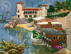 Laguna Beach Front, 1955, California art by Tom Van Sant. HD giclee art prints for sale at CaliforniaWatercolor.com - original California paintings, & premium giclee prints for sale