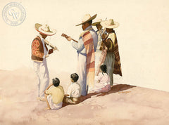 Mariachi Singers and Kids, California art by Tom Van Sant. HD giclee art prints for sale at CaliforniaWatercolor.com - original California paintings, & premium giclee prints for sale