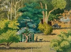 Mexican Jungle Home, 1955, California art by Tom Van Sant. HD giclee art prints for sale at CaliforniaWatercolor.com - original California paintings, & premium giclee prints for sale