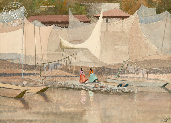 Nets of Janitzio, Lake Patzquarro, Mexico, 1953, California art by Tom Van Sant. HD giclee art prints for sale at CaliforniaWatercolor.com - original California paintings, & premium giclee prints for sale