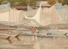 Nets of Janitzio, Lake Patzcuaro, Mexico, 1953, California art by Tom Van Sant. HD giclee art prints for sale at CaliforniaWatercolor.com - original California paintings, & premium giclee prints for sale
