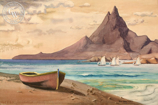 North of Cabo, Baja Peninsula, 1952, California art by Tom Van Sant. HD giclee art prints for sale at CaliforniaWatercolor.com - original California paintings, & premium giclee prints for sale
