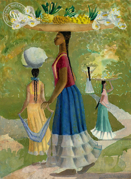 On the Way to Market, Mexico, 1953, California art by Tom Van Sant. HD giclee art prints for sale at CaliforniaWatercolor.com - original California paintings, & premium giclee prints for sale