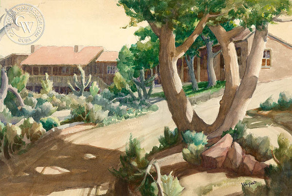 Ranch House Afternoon, California art by Tom Van Sant. HD giclee art prints for sale at CaliforniaWatercolor.com - original California paintings, & premium giclee prints for sale