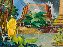 Thailand Temple, 1955, California art by Tom Van Sant. HD giclee art prints for sale at CaliforniaWatercolor.com - original California paintings, & premium giclee prints for sale