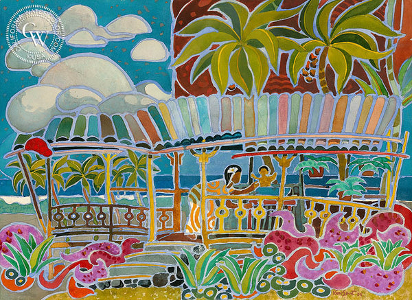 Tropical Mood, 1953, California art by Tom Van Sant. HD giclee art prints for sale at CaliforniaWatercolor.com - original California paintings, & premium giclee prints for sale
