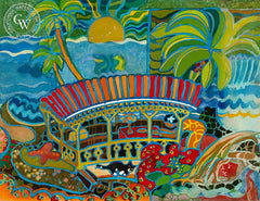 Tropical Sunset, California art by Tom Van Sant. HD giclee art prints for sale at CaliforniaWatercolor.com - original California paintings, & premium giclee prints for sale