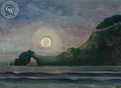 Anchor Bay Moon, California art by Tony Sheets. HD giclee art prints for sale at CaliforniaWatercolor.com - original California paintings, & premium giclee prints for sale