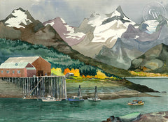 The Cannery, Haines, Alaska, 1984, California art by Tony Sheets. HD giclee art prints for sale at CaliforniaWatercolor.com - original California paintings, & premium giclee prints for sale