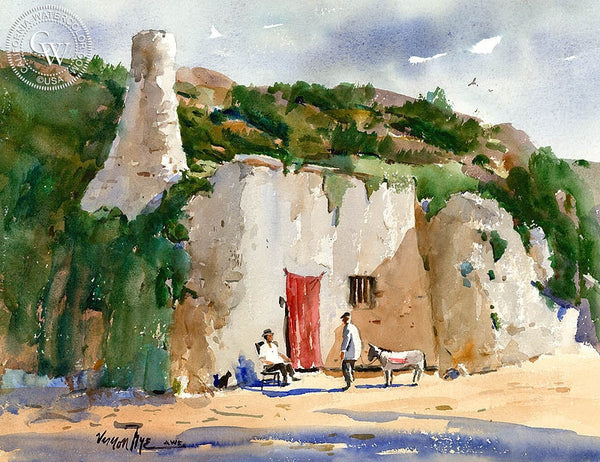 Cliffside Conversation, California art by Vernon Nye. HD giclee art prints for sale at CaliforniaWatercolor.com - original California paintings, & premium giclee prints for sale