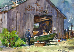 The Sterling Boat Works, California art by Vernon Nye. HD giclee art prints for sale at CaliforniaWatercolor.com - original California paintings, & premium giclee prints for sale