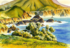 Big Sur California, California art by Vic de Beck. HD giclee art prints for sale at CaliforniaWatercolor.com - original California paintings, & premium giclee prints for sale