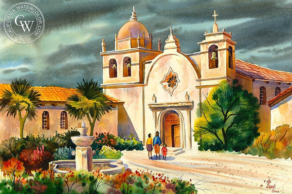 Carmel Mission, California art by Vic de Beck. HD giclee art prints for sale at CaliforniaWatercolor.com - original California paintings, & premium giclee prints for sale