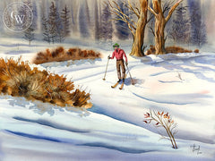 Cross Country Skiing, California art by Vic de Beck. HD giclee art prints for sale at CaliforniaWatercolor.com - original California paintings, & premium giclee prints for sale
