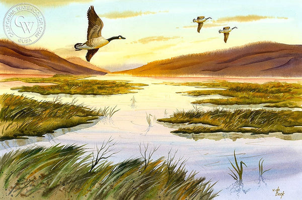 Morning Flight, California art by Vic de Beck. HD giclee art prints for sale at CaliforniaWatercolor.com - original California paintings, & premium giclee prints for sale