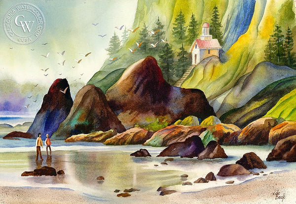 Northern California Coast, California art by Vic de Beck. HD giclee art prints for sale at CaliforniaWatercolor.com - original California paintings, & premium giclee prints for sale