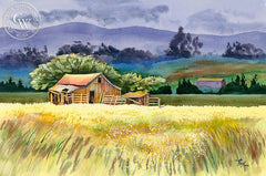 Petaluma Barn, California art by Vic de Beck. HD giclee art prints for sale at CaliforniaWatercolor.com - original California paintings, & premium giclee prints for sale
