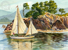 Sailing at Point Lobos, California art by Vic de Beck. HD giclee art prints for sale at CaliforniaWatercolor.com - original California paintings, & premium giclee prints for sale