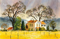 Spring Mustard in Sonoma, California art by Vic de Beck. HD giclee art prints for sale at CaliforniaWatercolor.com - original California paintings, & premium giclee prints for sale