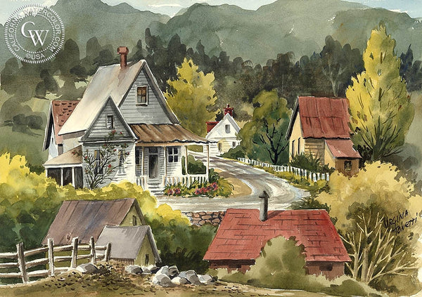 Angels Camp, California art by Virginia Tonetti. HD giclee art prints for sale at CaliforniaWatercolor.com - original California paintings, & premium giclee prints for sale