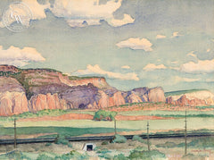 Cliffs Near Navajo Reservation, Arizona, 1966, California art by Warren Chase Merritt. HD giclee art prints for sale at CaliforniaWatercolor.com - original California paintings, & premium giclee prints for sale