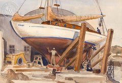 Drydock, 1940, California watercolor art by Watson Cross Jr.. HD giclee art prints for sale at CaliforniaWatercolor.com - original California paintings, & premium giclee prints for sale