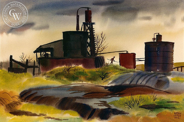 Evening Work, 1942, California art by Watson Cross Jr.. HD giclee art prints for sale at CaliforniaWatercolor.com - original California paintings, & premium giclee prints for sale