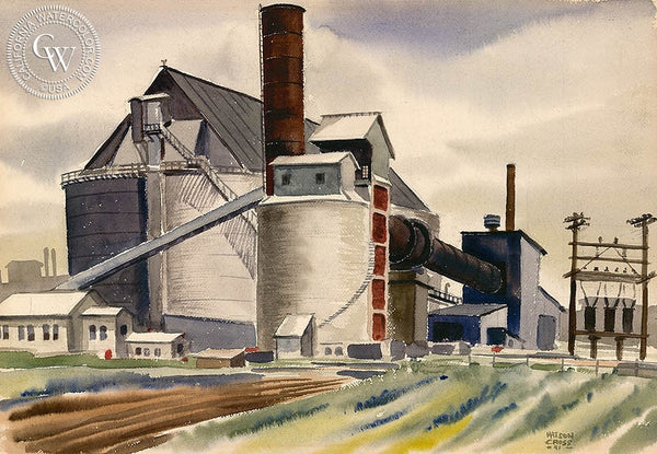 Old Refinery, 1941, California art by Watson Cross Jr.. HD giclee art prints for sale at CaliforniaWatercolor.com - original California paintings, & premium giclee prints for sale