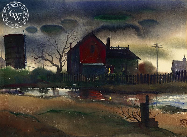 Red Barn, 1945, California art by Watson Cross Jr.. HD giclee art prints for sale at CaliforniaWatercolor.com - original California paintings, & premium giclee prints for sale