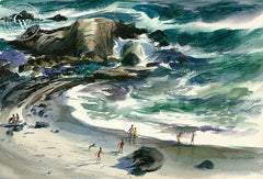 Beach Play, Laguna Beach, California watercolor art by Wayne La Com. HD giclee art prints for sale at CaliforniaWatercolor.com - original California paintings, & premium giclee prints for sale