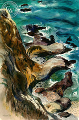 On the Rocks, Palos Verdes, California art by Wayne La Com. HD giclee art prints for sale at CaliforniaWatercolor.com - original California paintings, & premium giclee prints for sale