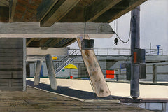 Under the Pier, Santa Monica, California art by Wayne La Com. HD giclee art prints for sale at CaliforniaWatercolor.com - original California paintings, & premium giclee prints for sale