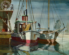 Mooring, California art by Wilfrid Provan. HD giclee art prints for sale at CaliforniaWatercolor.com - original California paintings, & premium giclee prints for sale