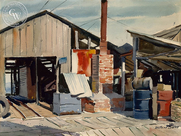 Saw Mill, 1938, California art by Willard Cox. HD giclee art prints for sale at CaliforniaWatercolor.com - original California paintings, & premium giclee prints for sale
