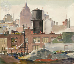 San Francisco from lower 3rd. Street, c. 1930's, California art by William Ross Cameron. HD giclee art prints for sale at CaliforniaWatercolor.com - original California paintings, & premium giclee prints for sale
