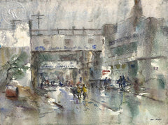 Rainy Day on Cannery Row, Monterey, California art by Art Riley. HD giclee art prints for sale at CaliforniaWatercolor.com - original California paintings, & premium giclee prints for sale