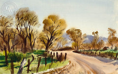 Country Road, c. 1939, California art by Charles Payzant. HD giclee art prints for sale at CaliforniaWatercolor.com - original California paintings, & premium giclee prints for sale