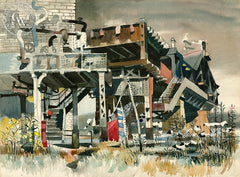 An Old Crossing, The New York EL, c. 1950's, California art by Dong Kingman. HD giclee art prints for sale at CaliforniaWatercolor.com - original California paintings, & premium giclee prints for sale